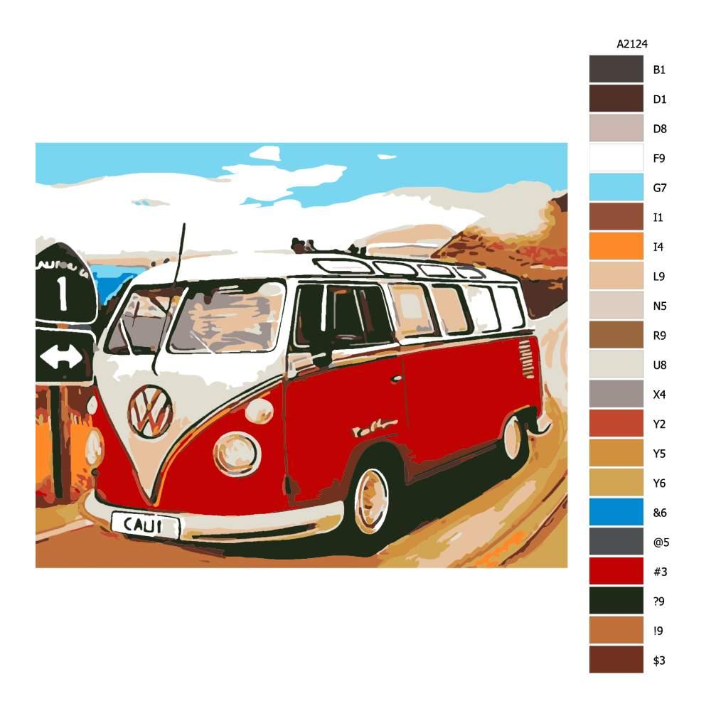 Návod pro malování podle čísel VW Califonský caravan