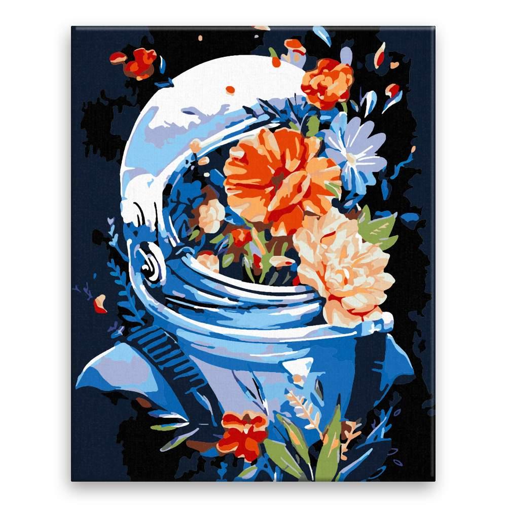 Malování podle čísel Kosmonaut plný květů