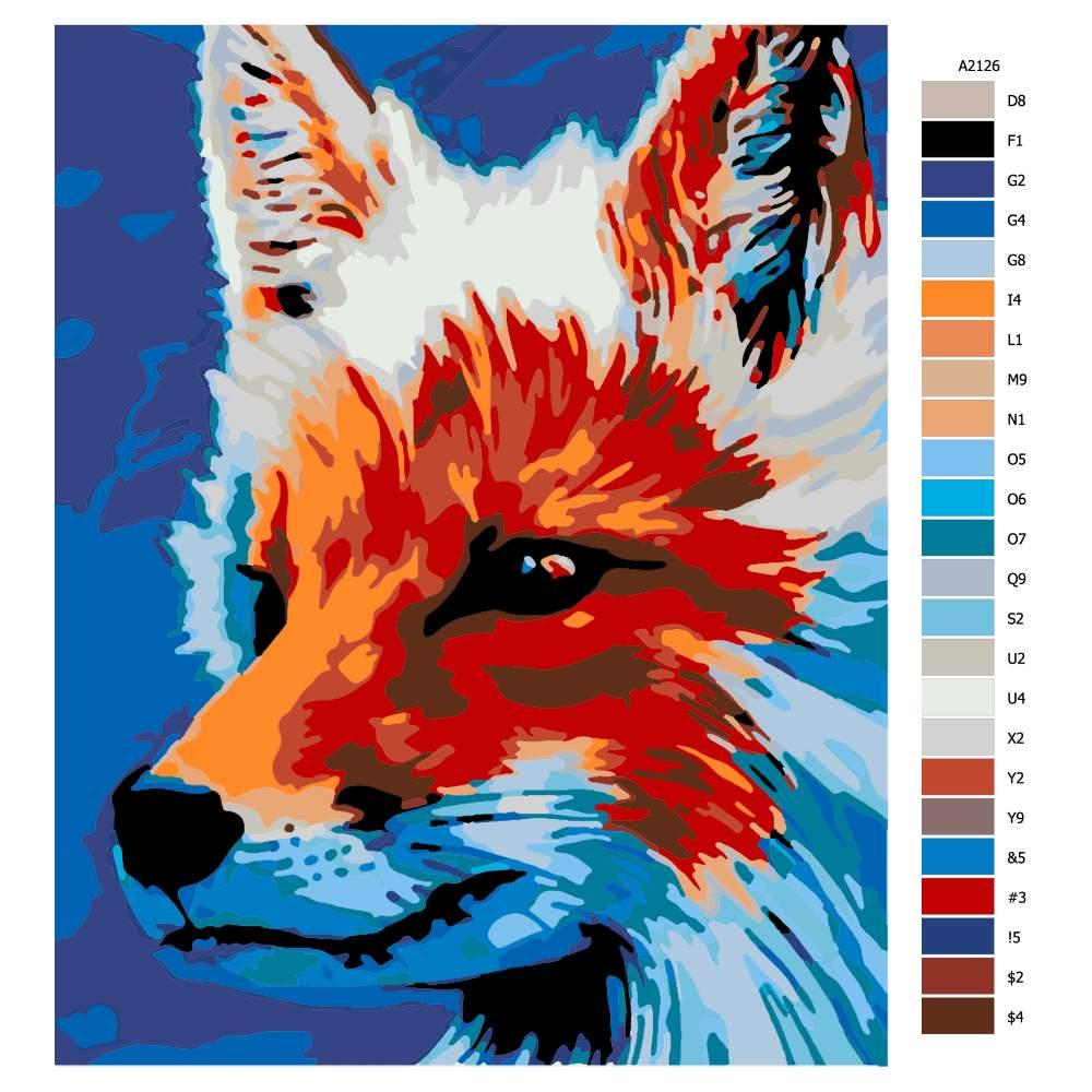 Návod pro malování podle čísel Liška v zamyšlení