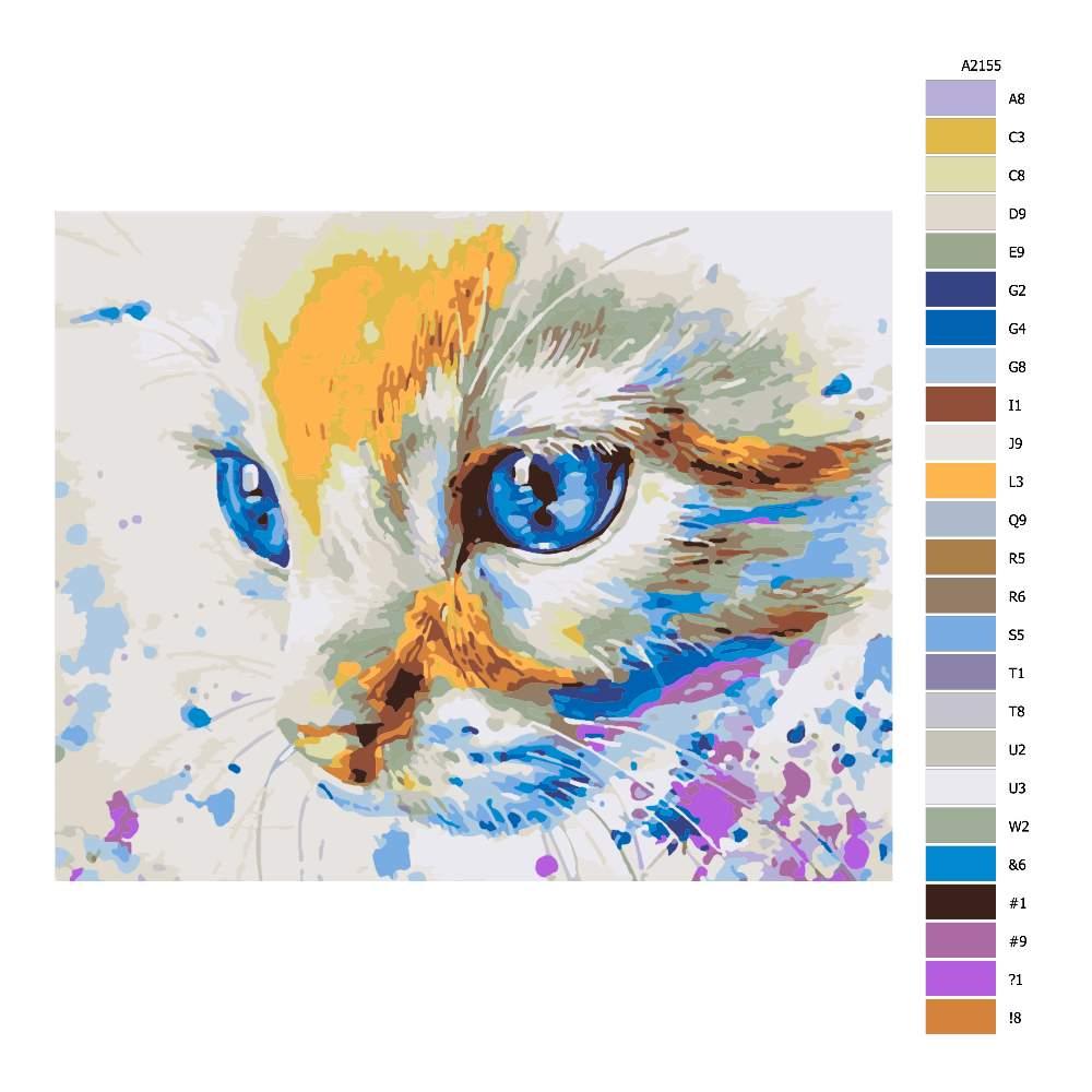 Návod pro malování podle čísel Modroočko
