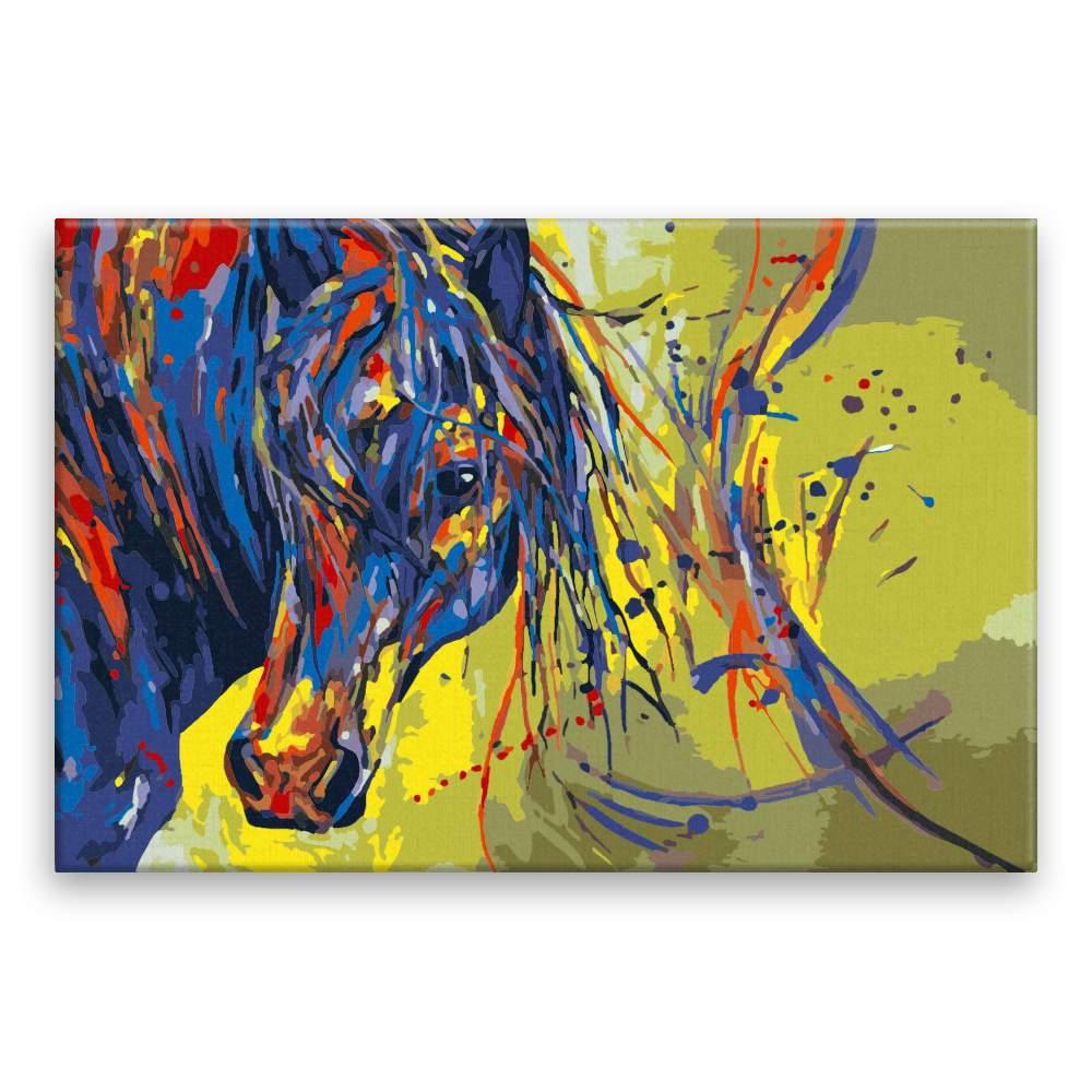 Malování podle čísel Barevná hlava koně se žlutým podkladem