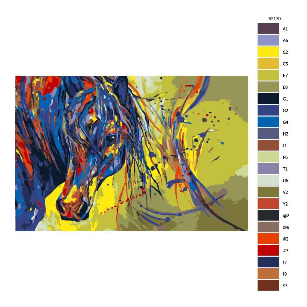 Návod pro malování podle čísel Barevná hlava koně se žlutým podkladem