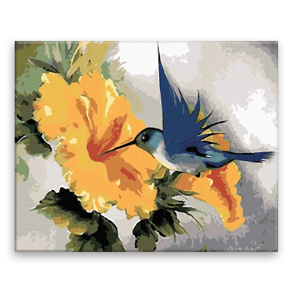 Malování podle čísel Kolibřík a žlutý květ