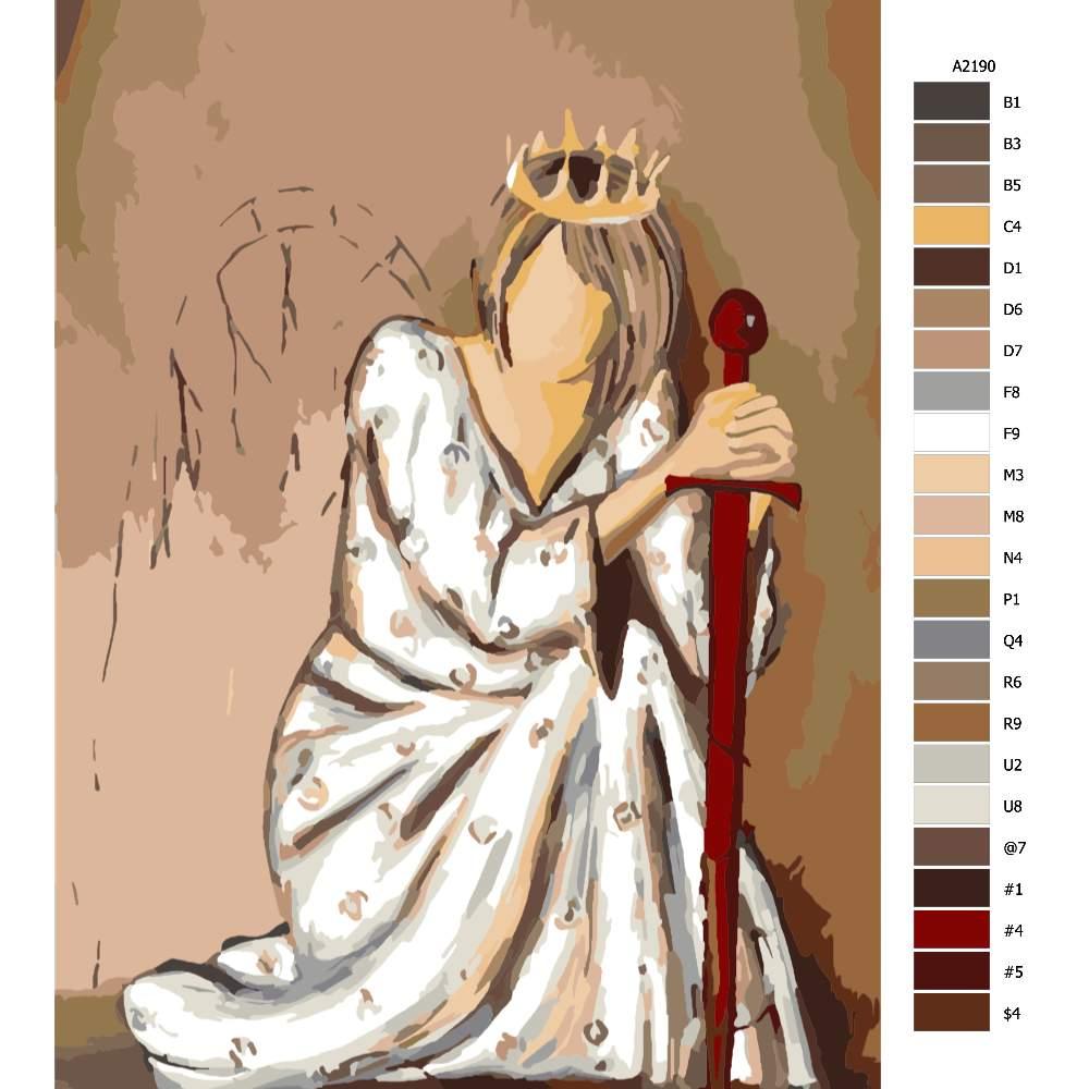 Návod pro malování podle čísel Královnka v pokleku