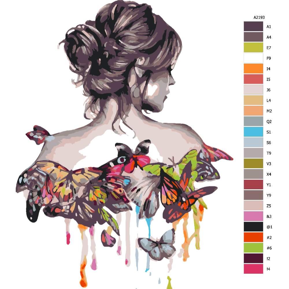Návod pro malování podle čísel Žena s motýlými