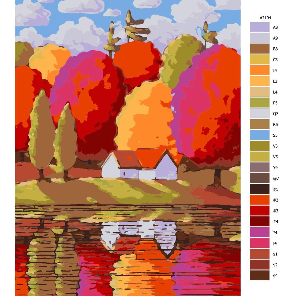 Návod pro malování podle čísel Velké barevné stromy