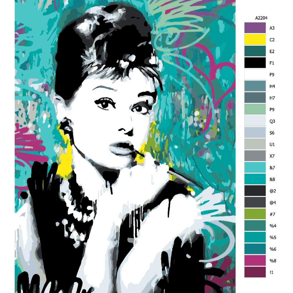 Návod pro malování podle čísel Audrey Hepburn 03