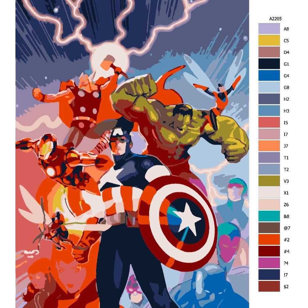 Návod pro malování podle čísel Avangers comics