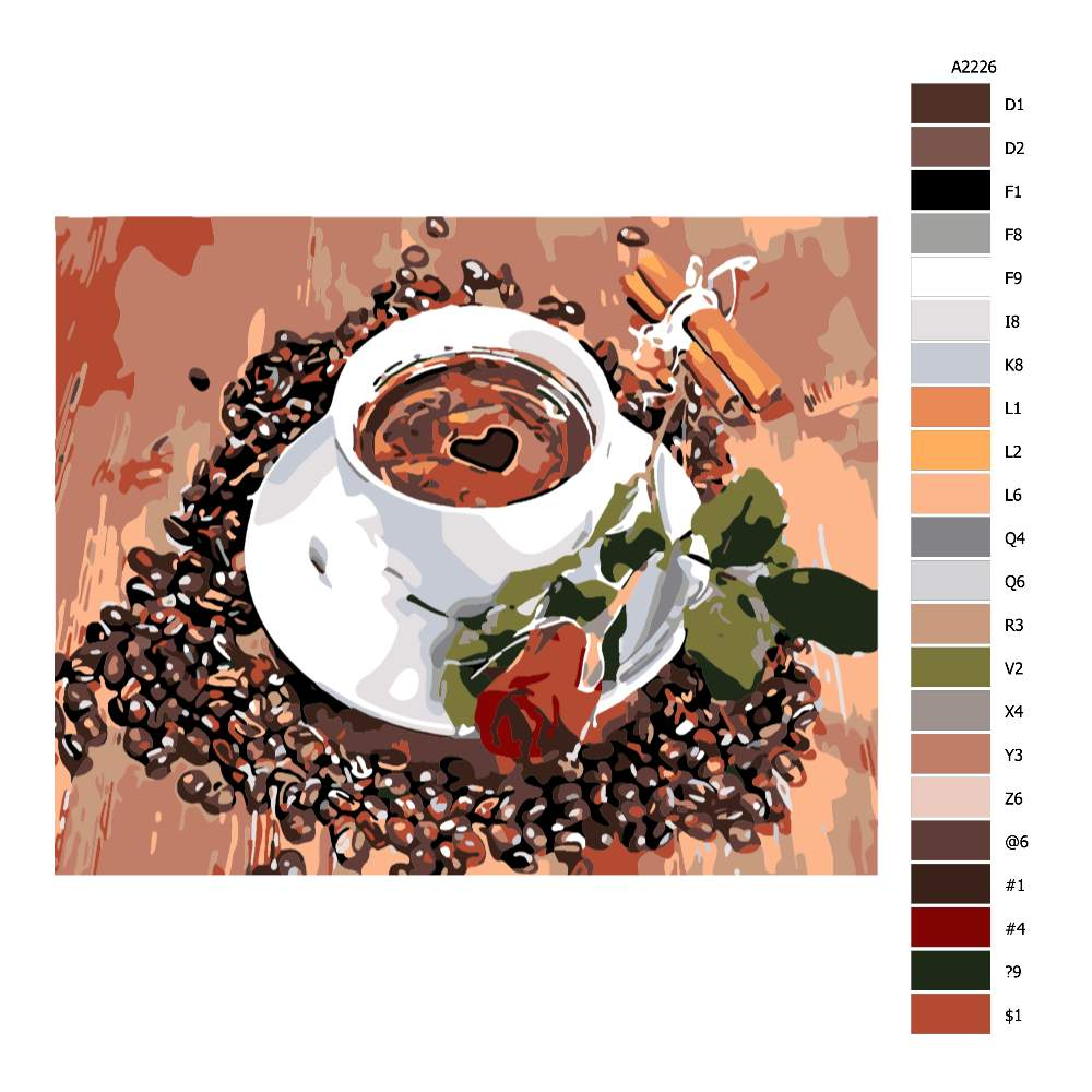 Návod pro malování podle čísel Dobrá káva