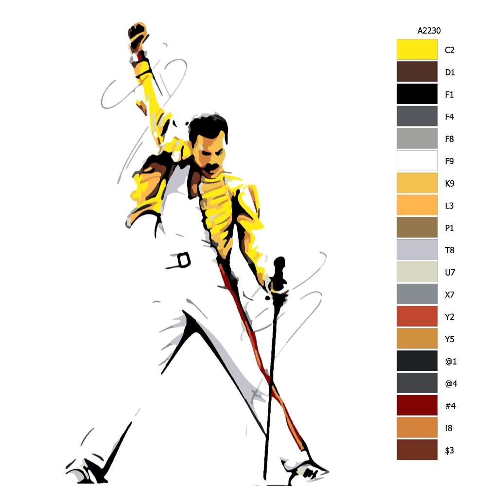 Návod pro malování podle čísel Freddie Mercury 01