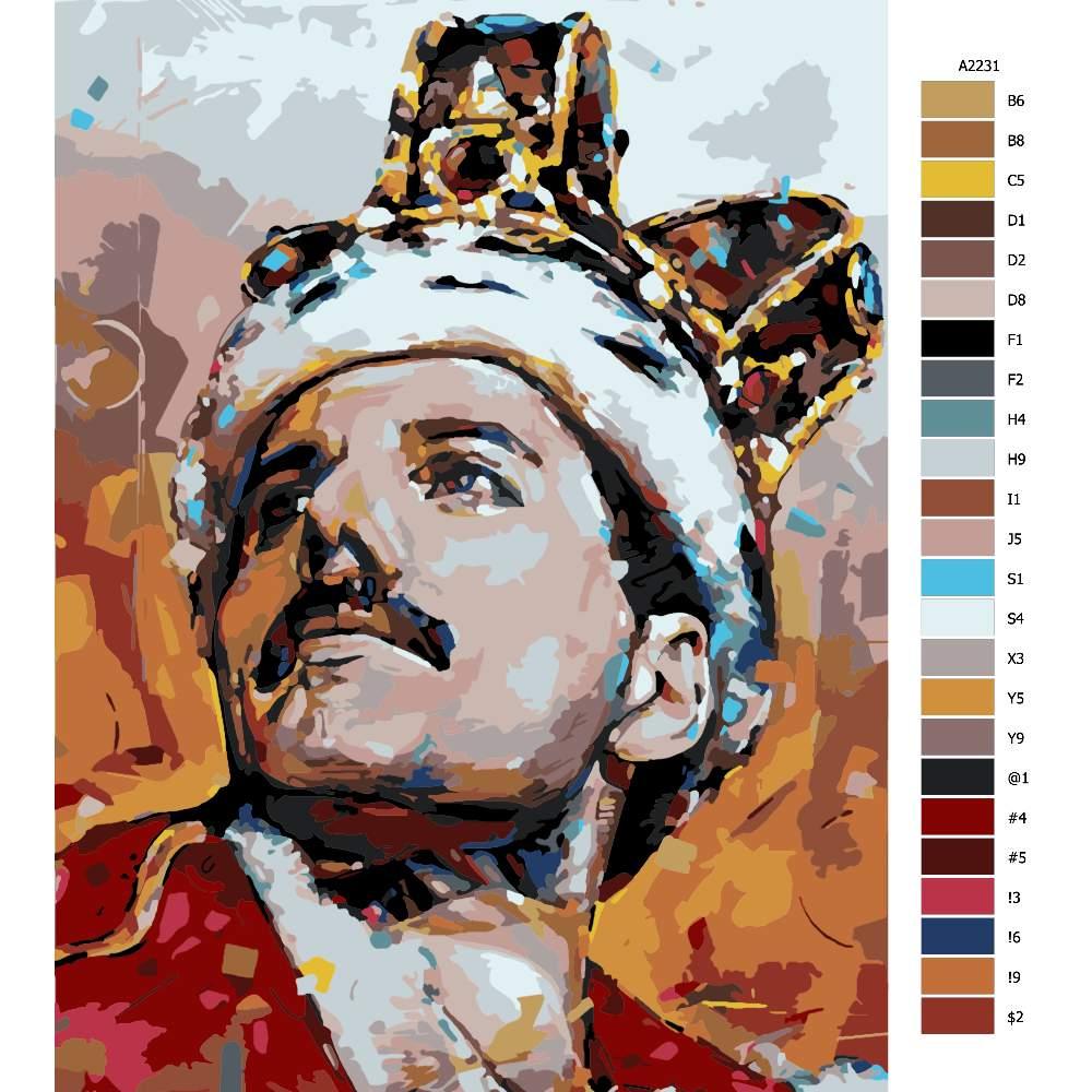 Návod pro malování podle čísel Freddie Mercury 02