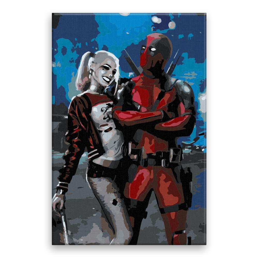 Malování podle čísel Harley Quinn Deadpool
