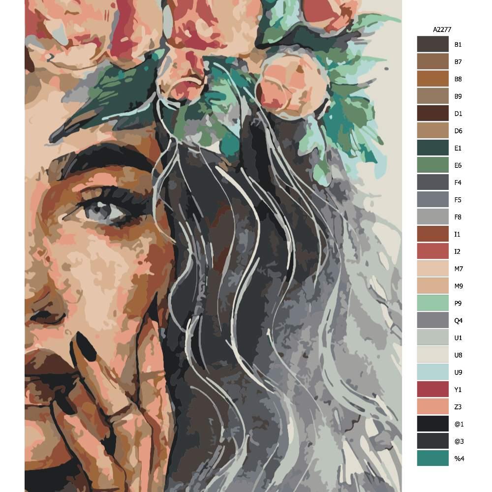 Návod pro malování podle čísel Květiny ve vlasech 40x60