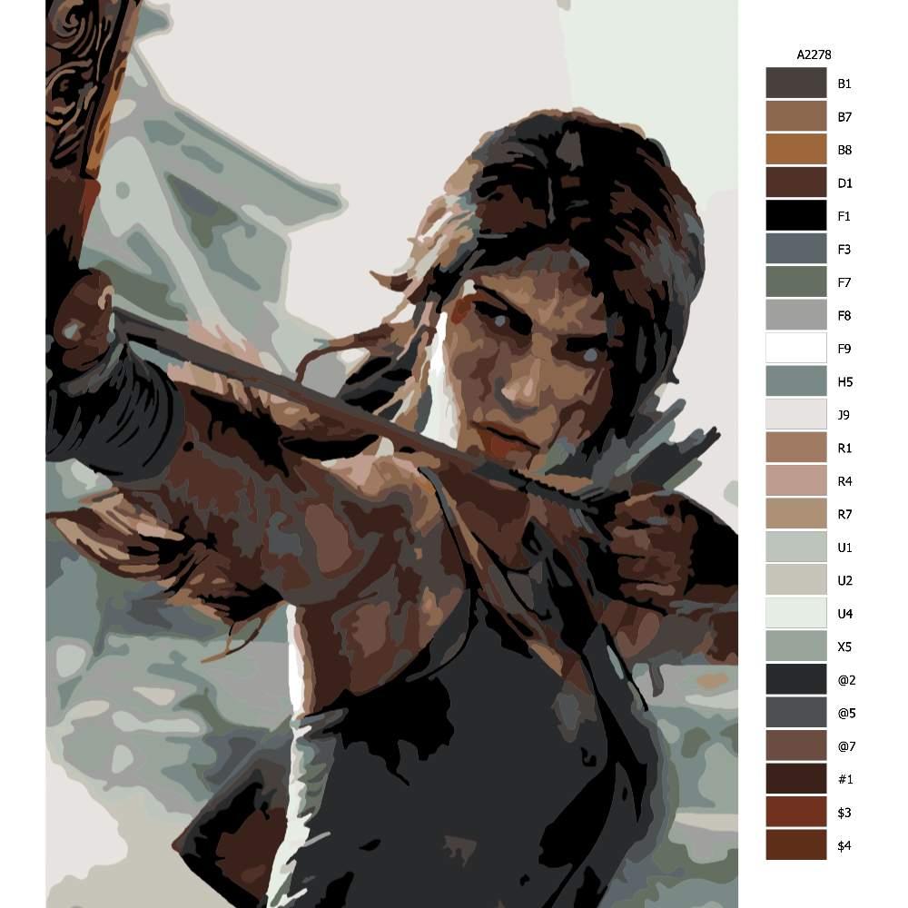 Návod pro malování podle čísel Lara Croft 01