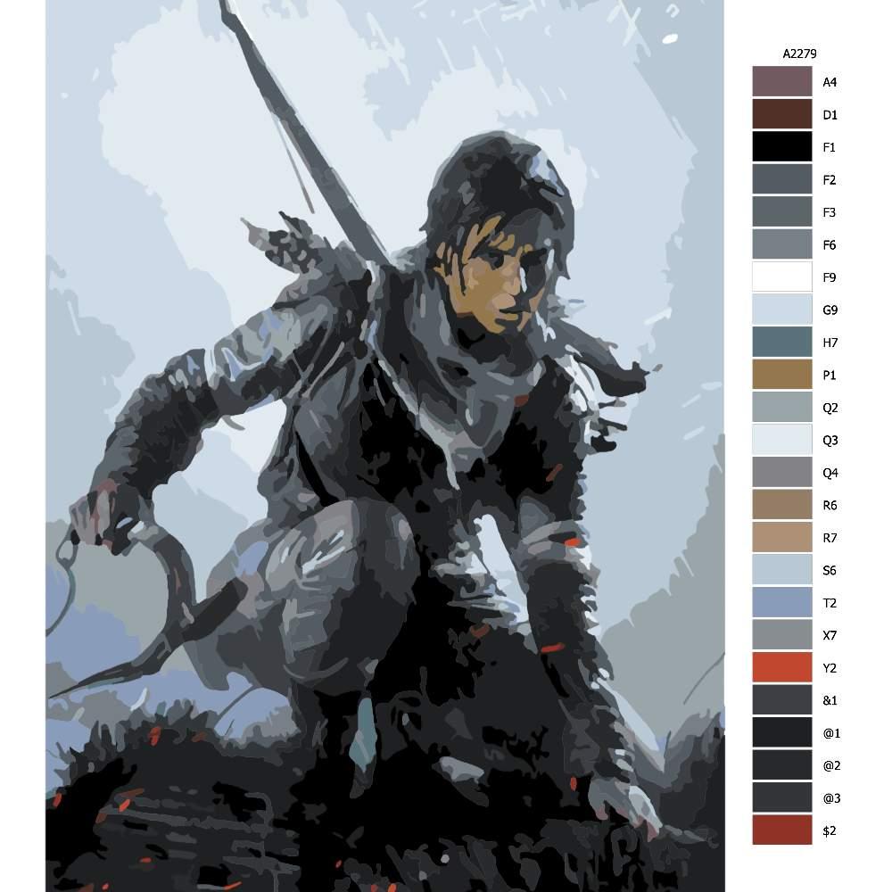 Návod pro malování podle čísel Lara Croft 02
