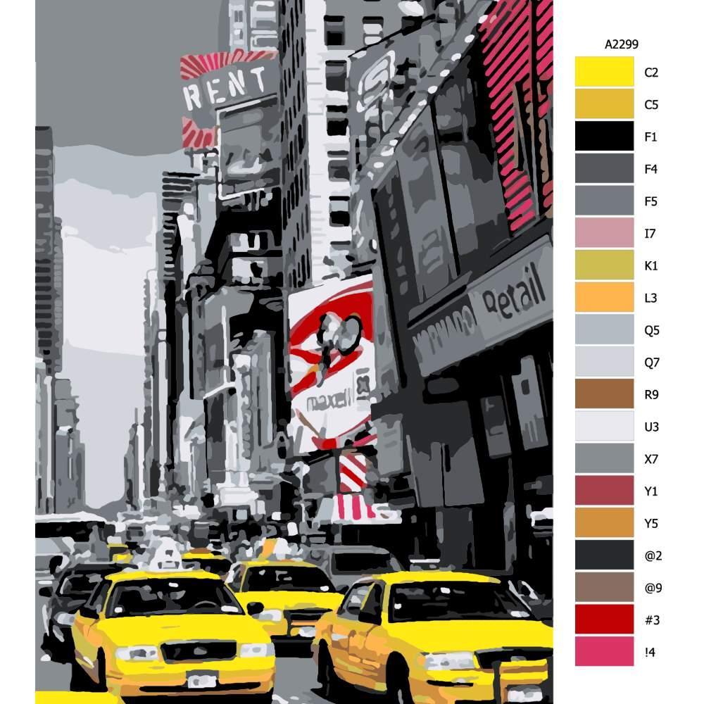Návod pro malování podle čísel New York taxi