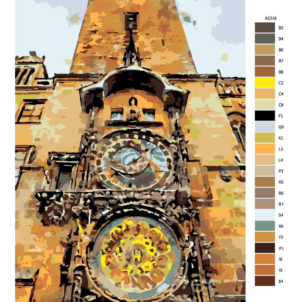 Návod pro malování podle čísel Pražský Orloj