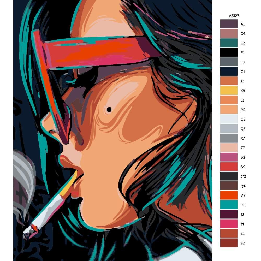 Návod pro malování podle čísel S cigaretou