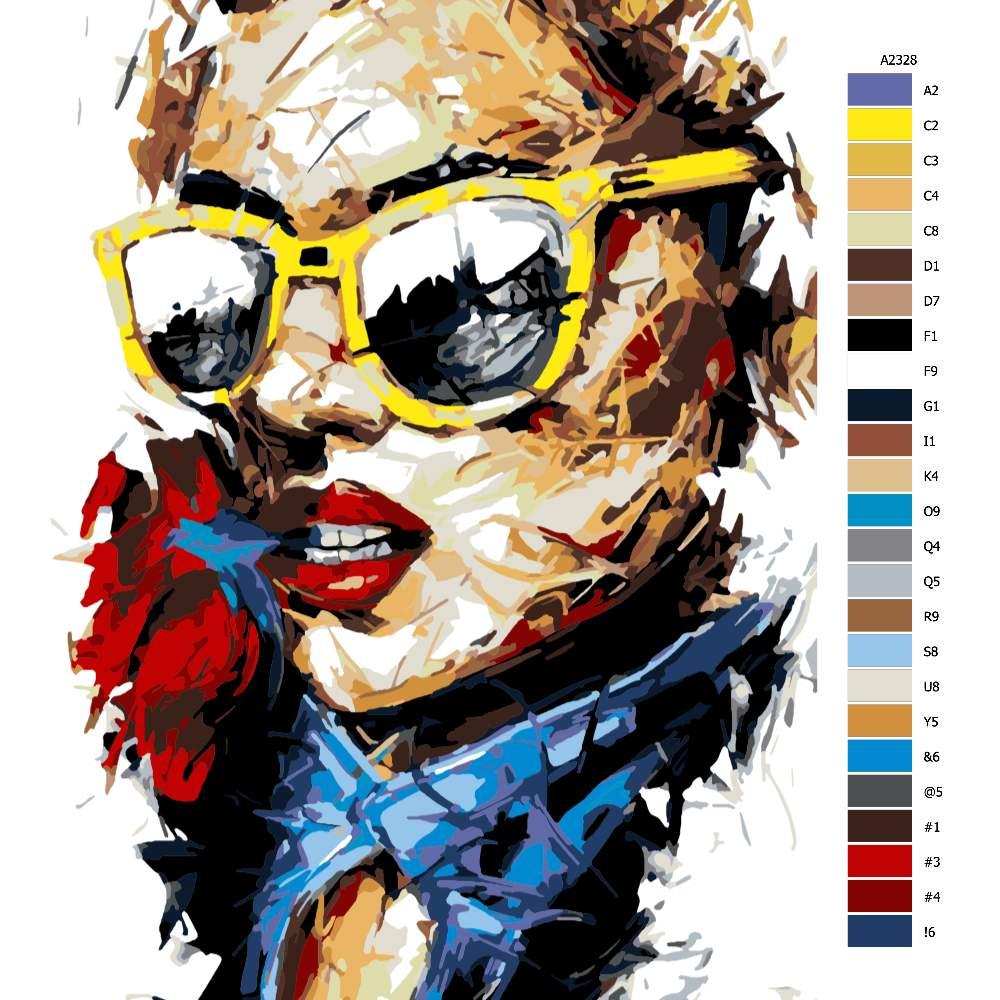 Návod pro malování podle čísel S růží v ústech