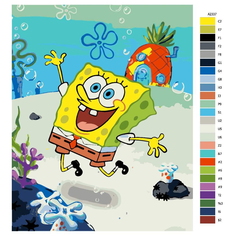 Návod pro malování podle čísel SpongeBob