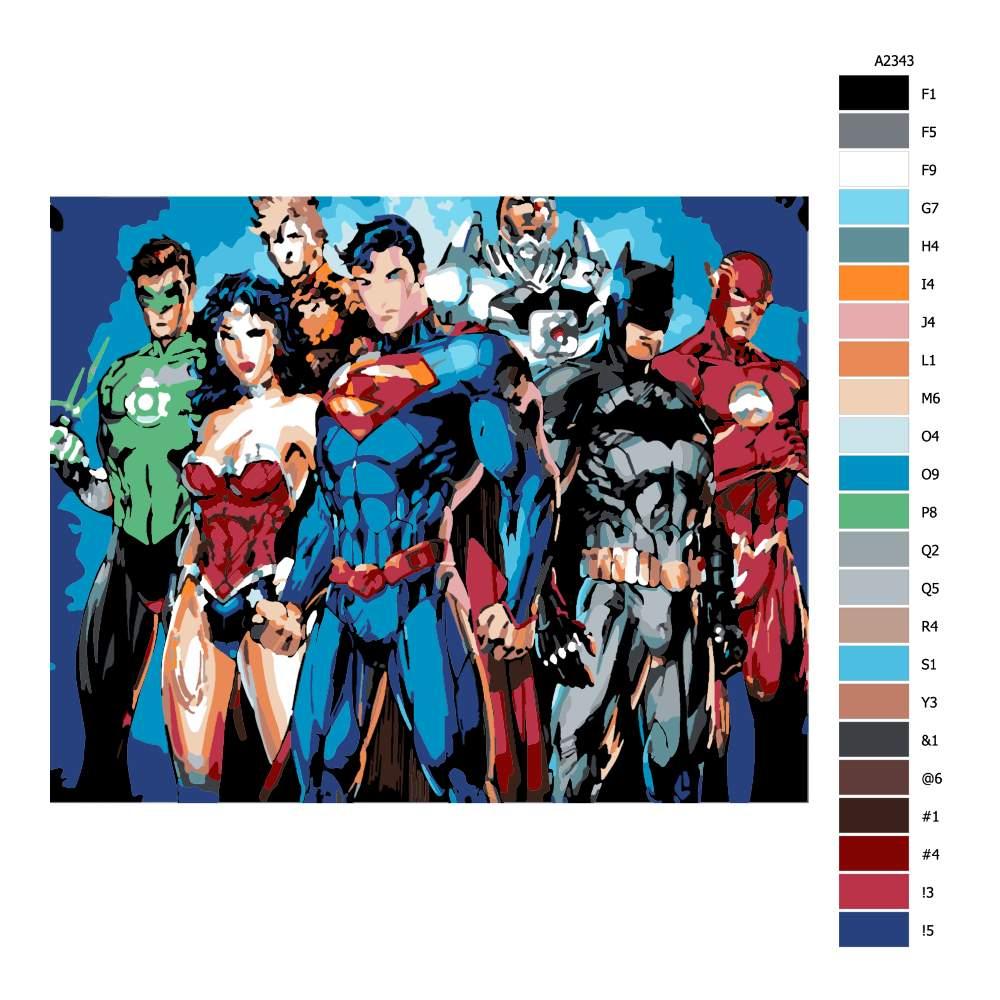 Návod pro malování podle čísel Superhrdinové