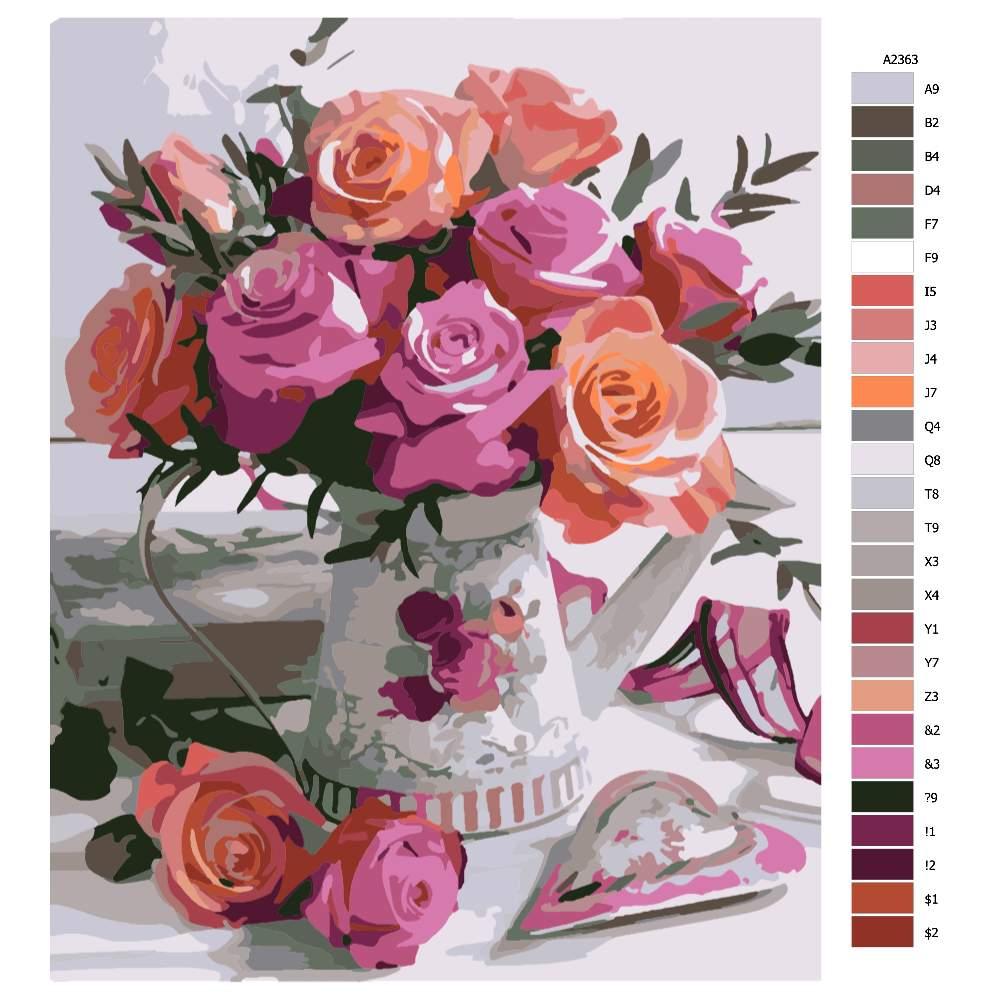 Návod pro malování podle čísel Váza plná květů