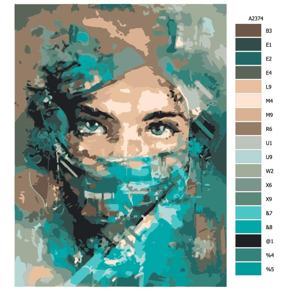 Návod pro malování podle čísel Zahalená