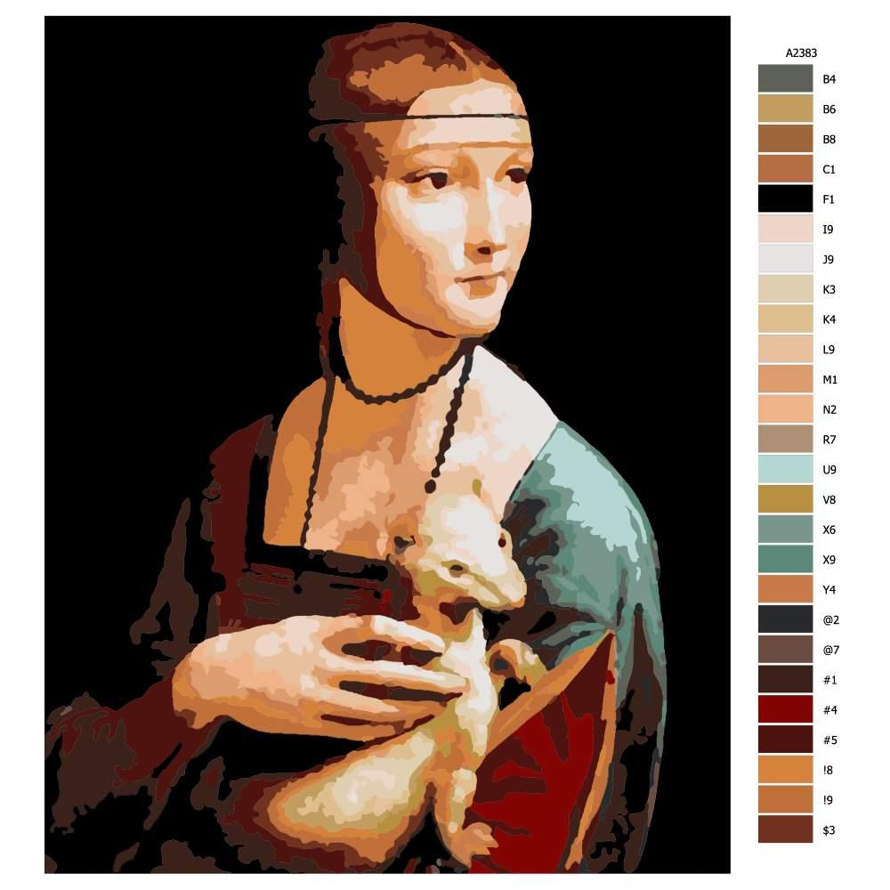 Malování podle čísel Dáma s hranostajem Leonardo da Vinci