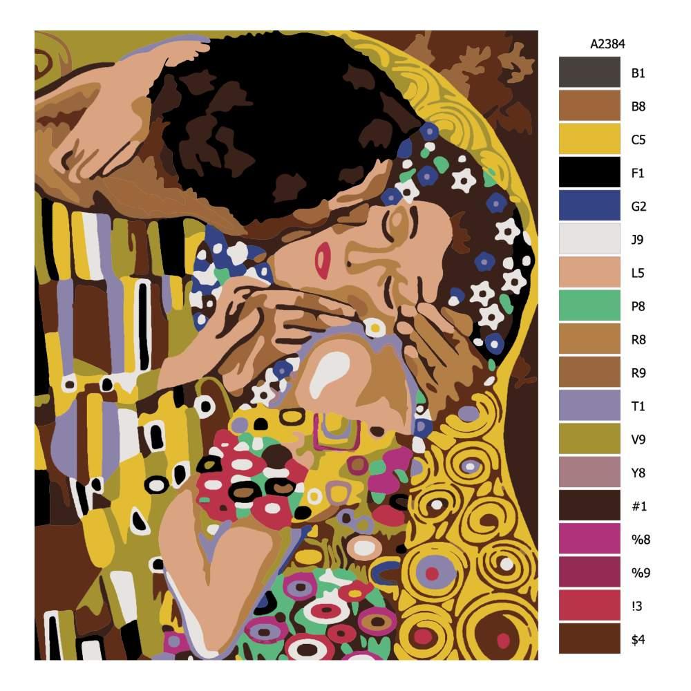 Návod pro malování podle čísel Detail Polibek Gustav Klimt