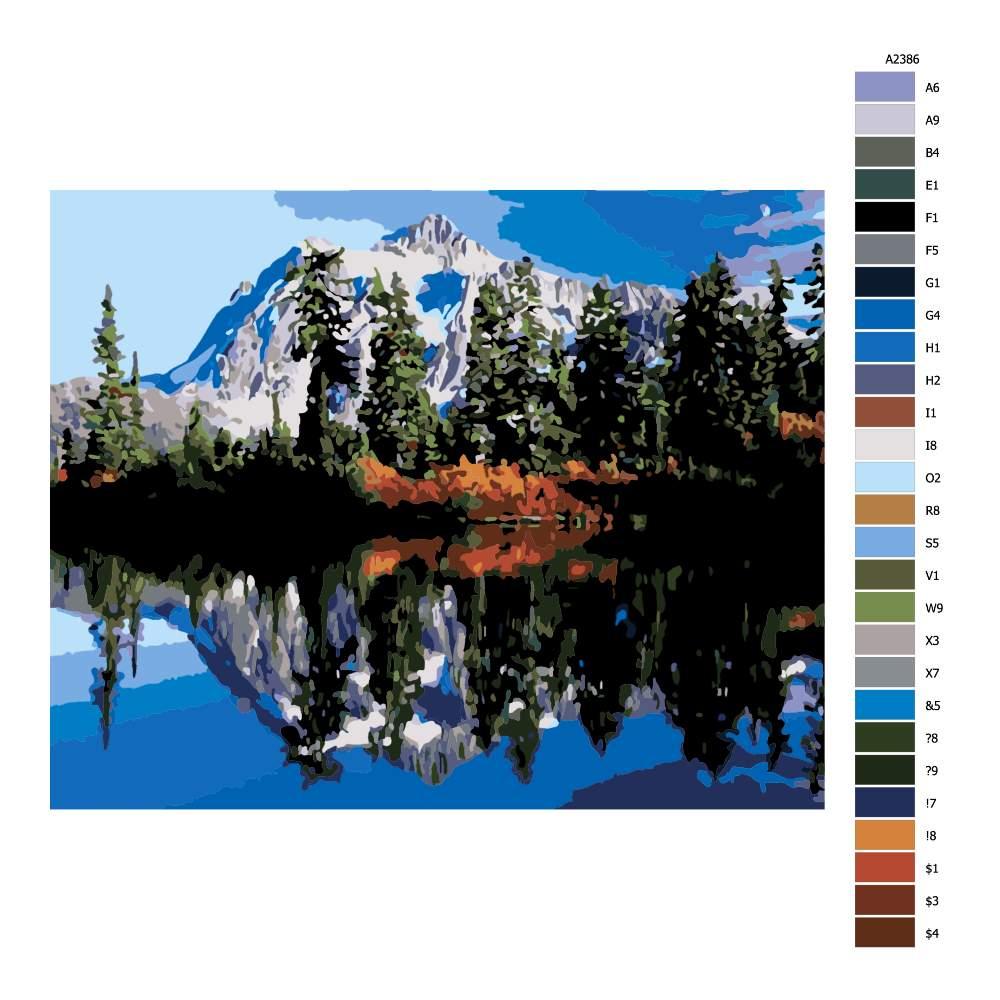 Návod pro malování podle čísel Horské jezero