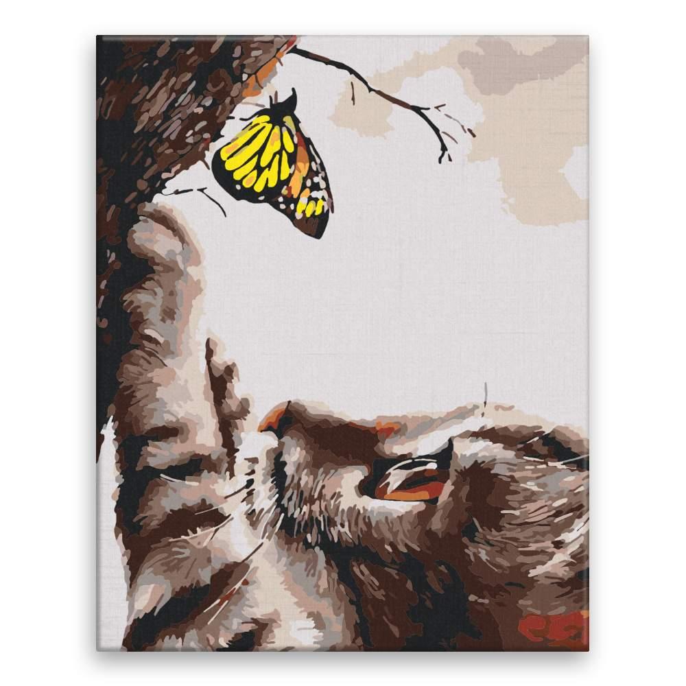 Malování podle čísel Kočka s motýlem