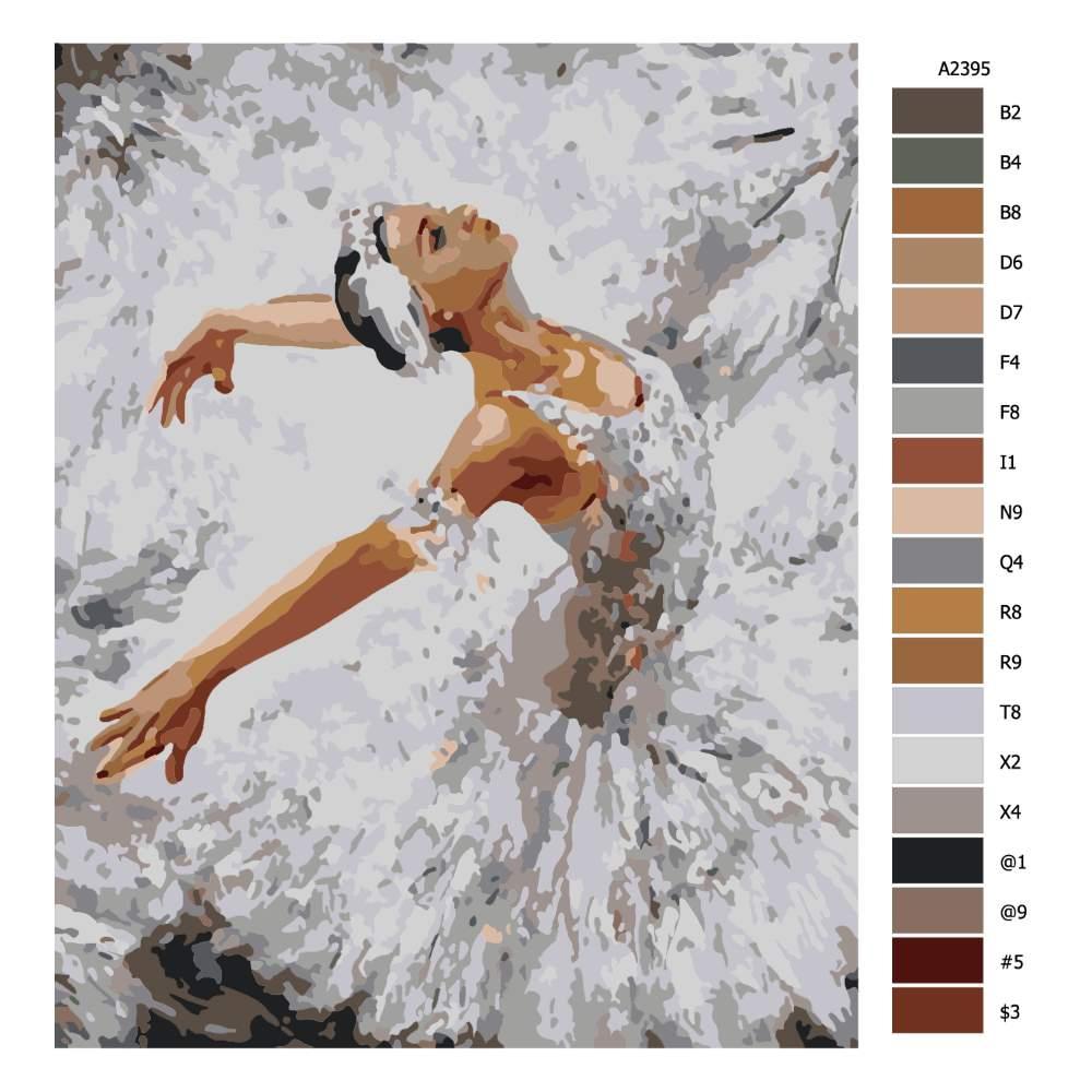 Návod pro malování podle čísel Labutí jezero