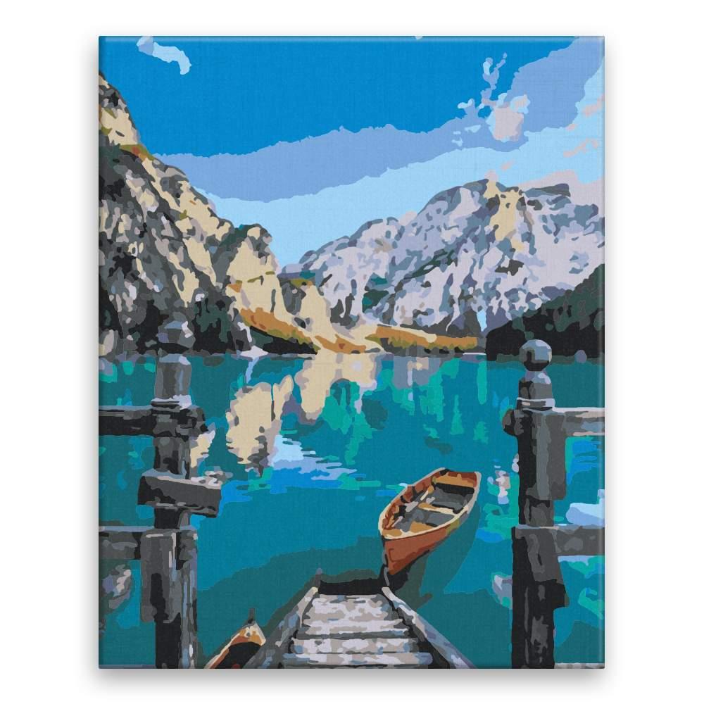 Malování podle čísel Lodička na jezeře