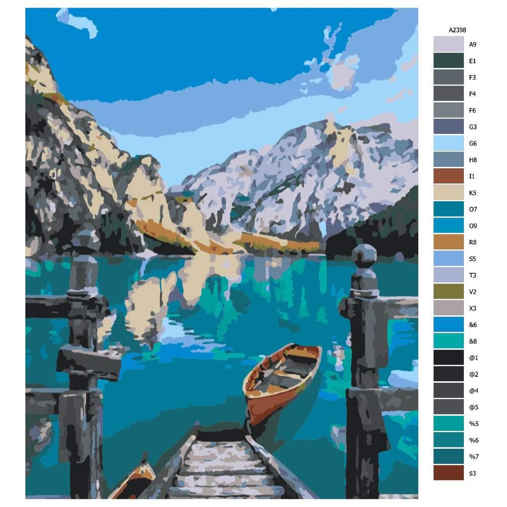 Návod pro malování podle čísel Lodička na jezeře
