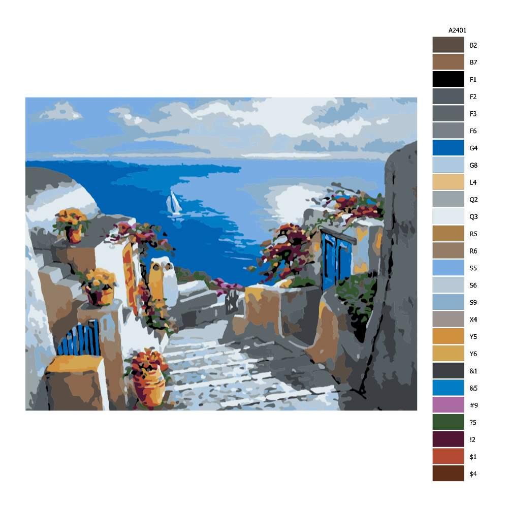 Návod pro malování podle čísel Schody k moři