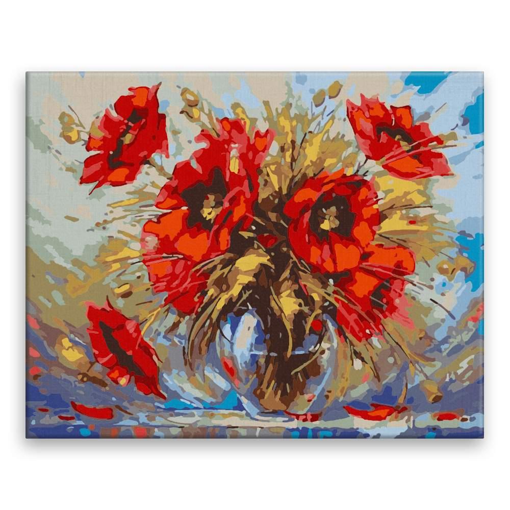 Malování podle čísel Váza s vlčími máky