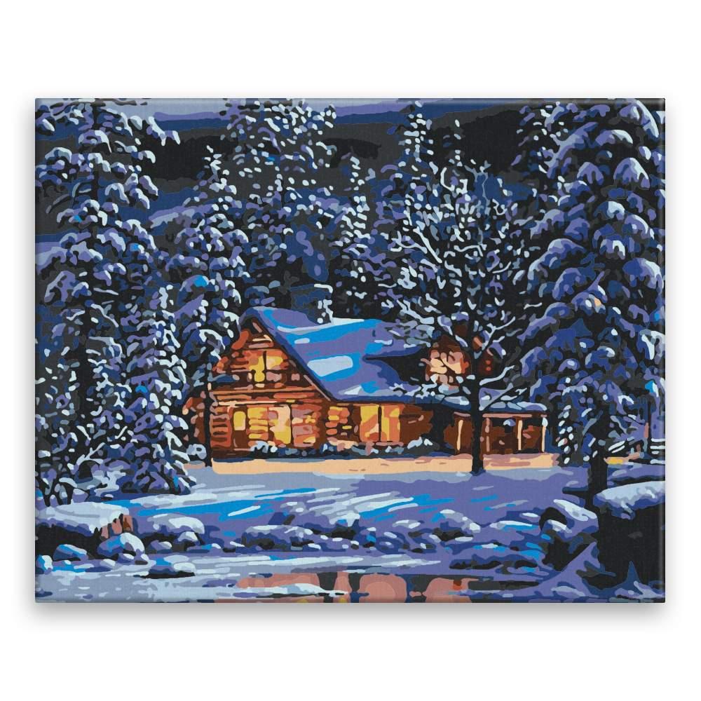 Malování podle čísel Zimní horská chata